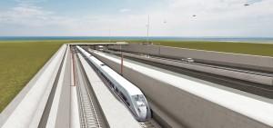 Fehmarn Bält-förbindelsen mellan Danmark och Tyskland innebär både väg- och tågtrafik. Planen är invigning år 2021. Grafik: Femern A/S
