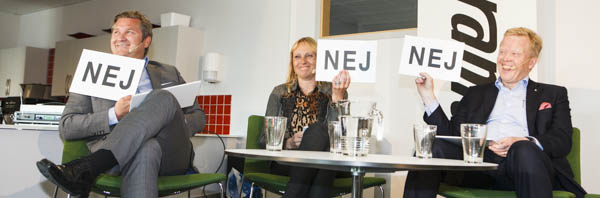 "Rapidus ""Efter Jobbet""-möte 21 maj med Jan Secher, VD Perstorp; Kerstin Lindell, VD Bona; Thomas Gustafsson, VD Duni."